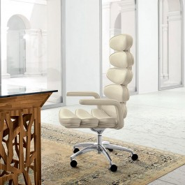 AIRONE Office 127  01 moderner Designer Büro-Drehessel komplett in Leder, High-End von Hand gefertigt