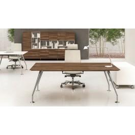 ENOSI-EVO 01 Designer Büro-Schreibtisch aus italienischem Nussbaum, Tischgestell Chrom
