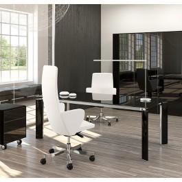 FILL HG 01 exklusives Chefzimmerm, Design Schreibtisch aus Schwarzglas, Glastüren Aktenschrank, Rollcontainer mit Glasschubläden und Pusch Pull, Glas Tisch, Glasschreibtisch