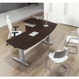 Format 01 Büro-Schreibtisch mit Metalltischgestell, Plattenfarbe Wenge, preiswert konfigurieren