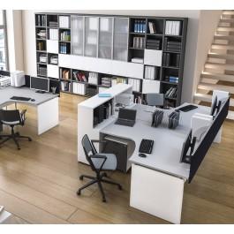 OXI 01 Büromöbel, Mitarbeiter Schreibtisch, geschlossenes Tischgestell