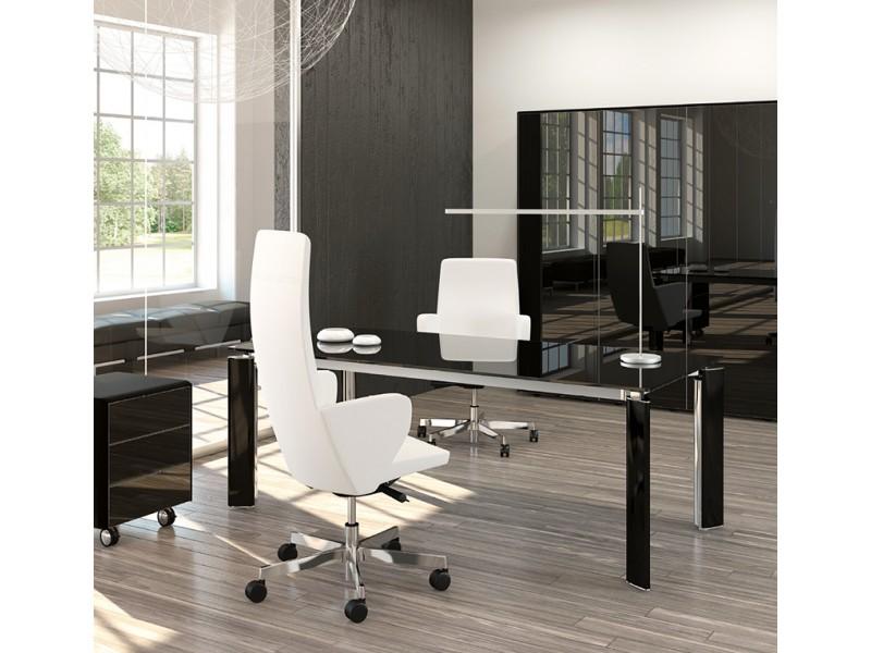 FILL HG 01 Exklusives Chefzimmerm, Design Schreibtisch Aus Schwarzglas,  Glastüren Aktenschrank, Rollcontainer Mit