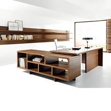 Büroschreibtisch mit modernen Winkelanbau in Nussbaum, Chefzimmer preiswert- Lithos