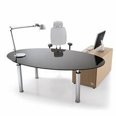 """Chef-Schreibtisch ob geschlossen in Wenge oder als Glastisch oval mit Container für Chefzimmer - """"STUDIO"""""""