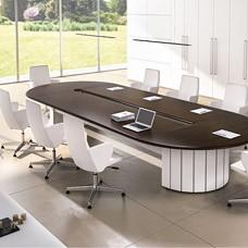 """großer Konferenztisch, einzigartiger Stil, abgerundete Kanten, Büro-Meetingtisch in Wenge, weiß, modernes Design - """"FORMAT"""""""