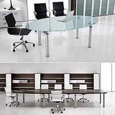 """Glas-Meetingtisch, Konferenzmöbel, Besprechungstisch oval, satiniert der Tischfuß in Chrom - """"STUDIO"""""""