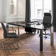 Hochglanz Glasschreibtisch, Schwarz, Design Chefmöbel, repräsentative Büroeinrichtung, Eckschreibtisch / Iulio HG