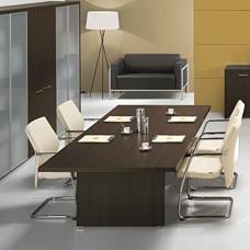 preiswerter Konferenztisch und Einrichtung DELTA EVO, Meetingtisch im geradlinigen Design, Holzfarbe Wenge