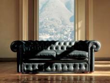 Lancaster klassisch hochwertiges Leder-Sofa, Handarbeit mit komfortabler Knopfsteppung