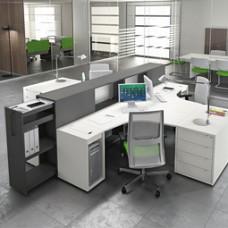 LOGIC Büro Schreibtisch, Sternarbeitsplatz, innovatives Design mit Stauraum, Ablagen
