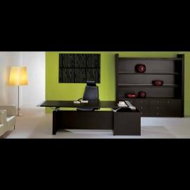 moderner Chef-Schreibtisch, emotional, geradlinig funktional mit Aluminium Tischkanten, Wenge Farben