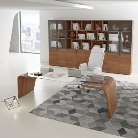 02  Chef-Schreibtisch, Büromöbel für Vorstand, Managerbüro, modernes Design, Nussbaum natur, preiswert einrichten, Larus