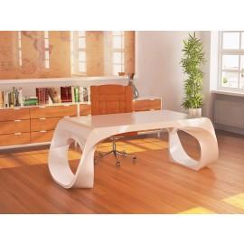 Infinity 02  Design Chefschreibtisch in Weiß glänzend lackiert, herausragend exklusiv, aus dem Verbundwerkstoff Adamantx® - Infinity