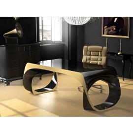 Infinity 03  einzigartiger Design Büroschreibtisch, B:226xT:100xH:79cm, Schwarz und Gold Hochglanz lackiert, zweifarbig individuell, aus Adamantx®, exklusive Chefmöbel