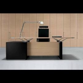 Designer Büro-Schreibtisch mit Schubladencontainer, stilvolle Büromöbel in Wenge und heller Eiche