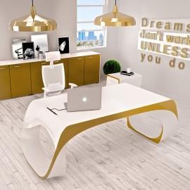 Infinity 04  Designschreibtisch in Glanz Weiss, Gold, Bicolor lackiert, mit Kabelöffnung und integrierten Multimedia Anschlußmöglichkeiten