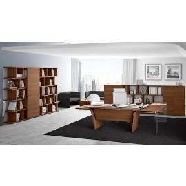 07  Design Chefschreibtisch, Winkelschreibtisch, Chefzimmer Büroeinrichtung modern, abgerundete Tischform in Nussbaum natur mit Sichtschutz, Büroregal, Büroschrankwand kombinierbar, Larus