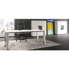08 modernes Chefzimmer, stilvoller Büroschreibtisch in Weiß und Edelstahl Optik, Monolith Schrank-Möbel - IULIO