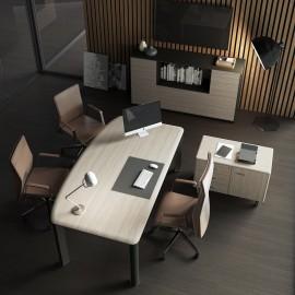 10 Design Chef-Schreibtisch, Ulme Grau und Edelstahl Optik, zweifarbiges Sideboard im Monolith Design - IULIO