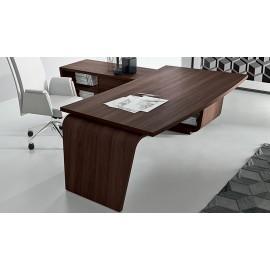 10  stilvoller Chefschreibtisch, Chefbüro, Büroeinrichtung preiswert, Schreibtisch moderne Form mit Winkelanbau und Serviceboard in Eiche dunkel, Lowboard, Larus
