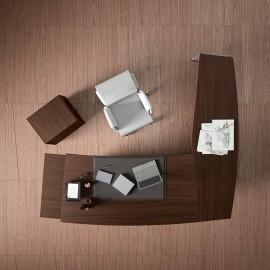 14  Winkel-Chefschreibtisch, gerundete Tischform in Eiche dunkel, Design Eckschreibtisch Larus
