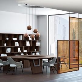 22  Design Konferenztisch, preiswerte Chefbüro-Einrichtung, Meetingraum modular und modern konfigurieren, in Nussbaum natur oder Eiche dunkel, Larus