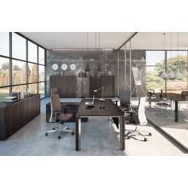 21 moderner Schreibtisch in Esche Braun Dekor, Tischbein Edelstahlfarben / individuell modulare Schranklösungen, exklusive Chefzimmer - Iulio
