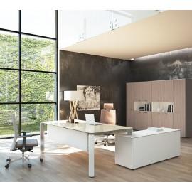 22 exklusiver Glasschreibtisch Grau-Beige mit Serviceanbau, Seitencontainer, hochwertige Chefzimmer in Weiß und Ulme Grau - Iulio