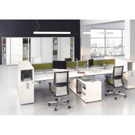 5th-Element 09 Team Büro, offenes Büro, Büroschreibtische mit Schallschutz und Stauraum