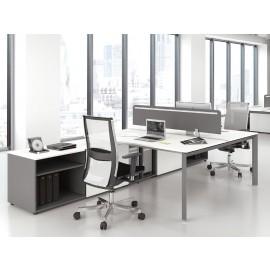 5th-Element 12 moderner Doppelarbeitsplatz-Schreibtisch mit Akustik Sichtschutz, Mitarbeiterbüro zweifarbig