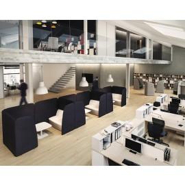 5th-Element 15 offenes Büro, open Space, Teamschreibtisch, Loungeecke, Ruhezonen, Ideenbereich, Schallschutzsofa