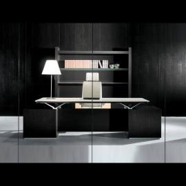 01-1 exklusiver Chefzimmer Design Schreibtisch, Farbe Wenge, Leder Beige und Aluminium