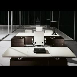 ABC 01 Chefzimmer Schreibtisch in Holzfarbe Wenge, Leder in Beige