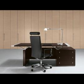 ABC 02 exklusiver Büro Schreibtisch, Wenge mit Aluminium Tischkanten