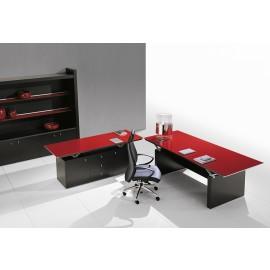 ABC 06 Chef Glasschreibtisch, Tischplatte exklusiv rot unterlackiert