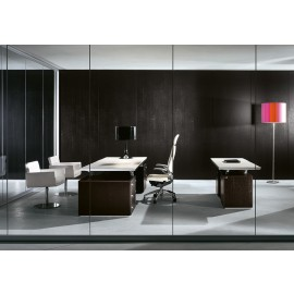 ABC 09  Chefzimmer, Designer-Schreibtisch mit Leder, Wengeholz und Aluminium Tischplattenträger