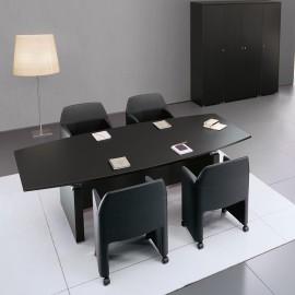 ABC 02 Konferenztisch, Meeting, Chefschreibtisch in Wenge, Aluminium, Schrank, Sideboard