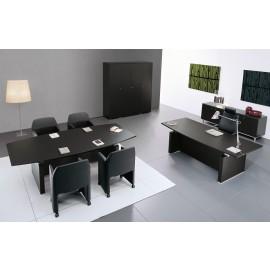 ABC 11 Konferenztisch, Chebüro und Chefschreibtisch, Wenge Holz, Aluminium Kanten