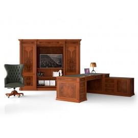 art&moble  03  klassiche Chefmöbel,  Chef-Eckschreibtisch, Aktenschrank,  Minibar, Multimediaschrank in Kirsche, traditionelles exklusives Design