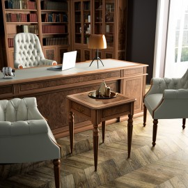 art&moble  04  Chef Schreibtisch im klassischen Stil, traditionelles und exklusives Design, Nussbaum