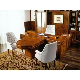 art&moble  08  exklusiv klassischer Büro-Schreibtisch Frontmeeting Anbau, Wurzelholz