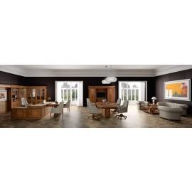 art&moble  09  klassisches  Chefbüro mit Schreibtisch Konferenztisch und Loungebereich, stylisch elegantes Design, Nussbaum, Komplettbüro