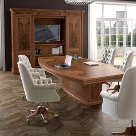 art&moble  10  exklusiv klassischer Konferenztisch, Meetingtisch, traditionell in Wurzelholz Olive, elegantes Design