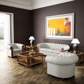 art&moble  12  Büro Chefzimmer Lounge mit Leder-Sessel und Couchtisch, klassisch elegantes Design, Wurzelholz