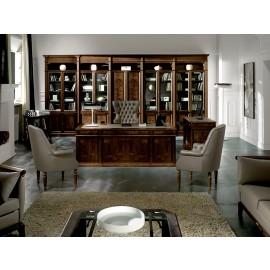 art&moble  13  Chef-Schreibtisch mit Ledereinlage, Büro klassischer Stil in Wenge und Wurzelholz, Komplettbüro