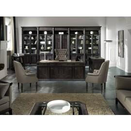 art&moble  15  Chefschreibtisch mit Ledereinlage und Sattlernaht , klassischen Design, schwarz mit Wurzelholz Olive, Büro Schrankwand, modular offenes Regalsystem