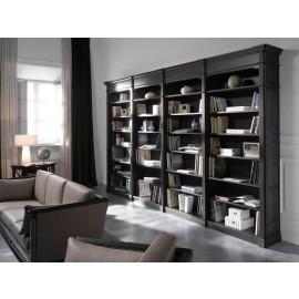 art&moble  16  offenes Büroregal, klassisch schwarz mit Wurzelholz Schrankwand, Regalsystem