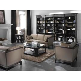 art&moble  17  klassisches Regal, Bücherregal mit Loungebereich in schwarzen Holz mit Wurzelholz Einlegern, Schrankwand, Klassiksessel, Klassiksofa