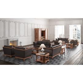 art&moble  20a  Loungebereich mit Sessel, Ledresofa in Nuss mit Wurzelholz, sowie passende Couchtische, Kaffeetische