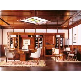 art&moble   25  Chefzimmer klassich, Chefschreibtisch in Farbe Kirsche mit edlen Wurzelholz Intarsien, Büro-Schrankwand und Konferenztisch